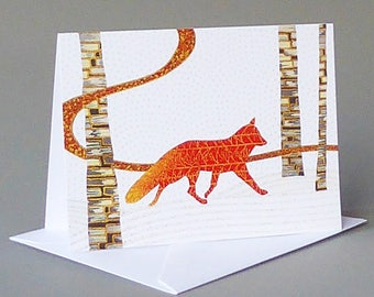 Red Fox: A nature inspired blank notecard, winter, Vermont