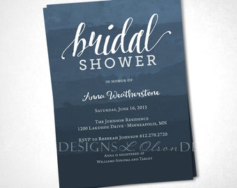 Slate Dye Dip Ombre Invitation - Shower, Party, or Special Occasion - DIY Printable