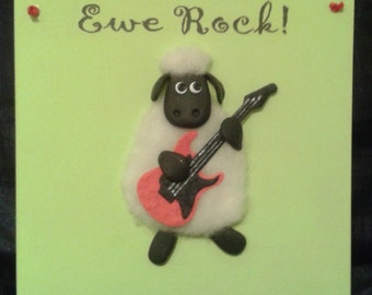 Birthday Congratulations Wooden Card, Ewe Rock, Sheep Plaque, Sheep with Guitar, Graduation, Exam, Driving Test Pass, Well Done Sign Gift