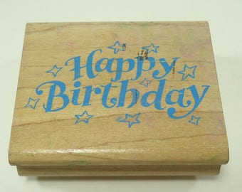 Happy Birthday With Stars Wood Mounted Rubber Stamp By Rubberstampede