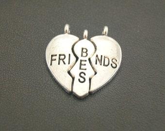 30sets Antique Silver Best Friends Jigsaw Puzzle Piece Charm Charms Pendant A922
