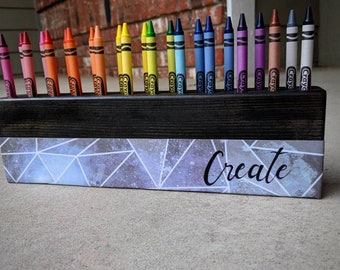 Crayon Holder (Geometric Angles) Crayons- Pencils -Storage - Organization - Wood