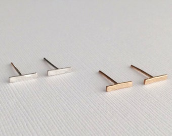 Hammered Bar Stud Earrings / Dainty Jewelry / Sterling Silver or 14k Gold Filled / Modern / Minimal / Gifts for Her