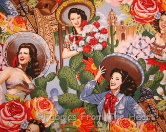 Las Senoritas Pin-Up Sexy Mädchen Kaktus auf Alexander Henry Baumwoll-Stoff