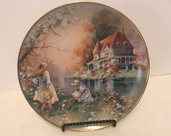 "Franklin Mint Heirloom Collector Plate ""Gathering Wildflowers"""
