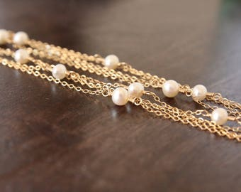 """Gold Long Necklace, Long Necklace, Long Layering Necklace, Layering Necklace, Layered Necklace, Gold Necklace, Freshwater Pearl, 60""""Long"""
