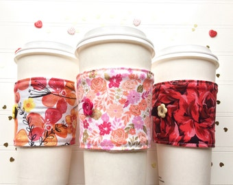 Coffee Cup Cozy, Mug Cozy, Coffee Cup Sleeve, Cup Cozy, Cup Sleeve, Reusable Coffee Sleeve - Valentine Florals [67-69]