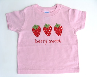 Strawberry T Shirt,  Berry Birthday Party, Hand Painted Pink Cotton Tee or Top, Baby and Toddlers