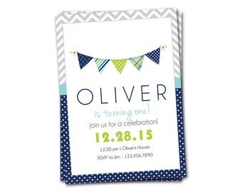 First Birthday Invitation, Modern Birthday Invitation, Custom Birthday Party Invitation, Printable Invitation, Boy Birthday Invitation