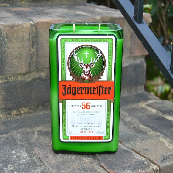 Jagermeister liquor bottle candle made with soy wax
