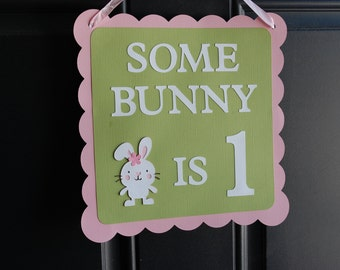 Lapin porte signe, signe de bienvenue lapin, lapin, lapin de certains est de 1, plaque de porte pour le thème lapin, lapin d'anniversaire, rose Pastel, vert sauge