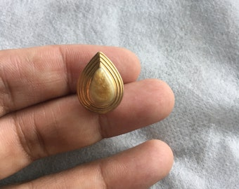 Vintage Gold Tone and Gold Enamel Swirl Design Tear Drop Post Stud Earrings