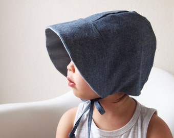 Baby Bonnet, Chambray, Toddler Bonnet, Baby Sun Hat, Toddler Sun Hat
