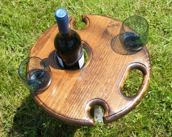 Outdoor wine table - wine glass and bottle holder for 4 glasses. Holds a standard wine bottle, and 4 large glasses.