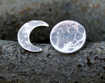 Moon Phase Post Earrings - Sterling Silver