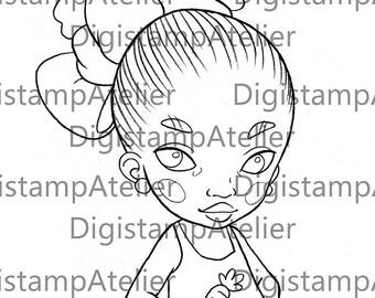 Carrot Little Girl. INSTANT DOWNLOAD Digital Digi Stamps