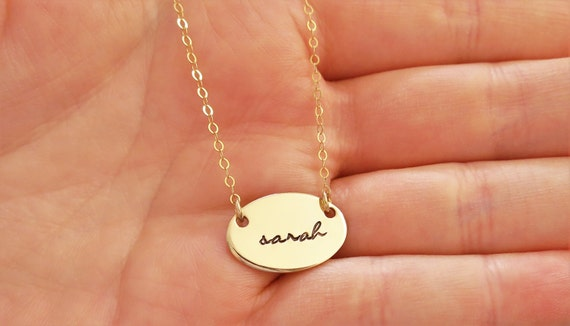 Custom Name Necklace - 14k Gold Fill Oval - Sterling Silver Oval - Small Oval Necklace - Layering Necklace - Personalized Name Jewelry