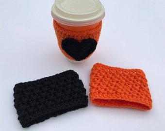 Orange cup cozy, black cup cozy, tea cup cozy, coffee cup sleeve, black and orange cup cozy