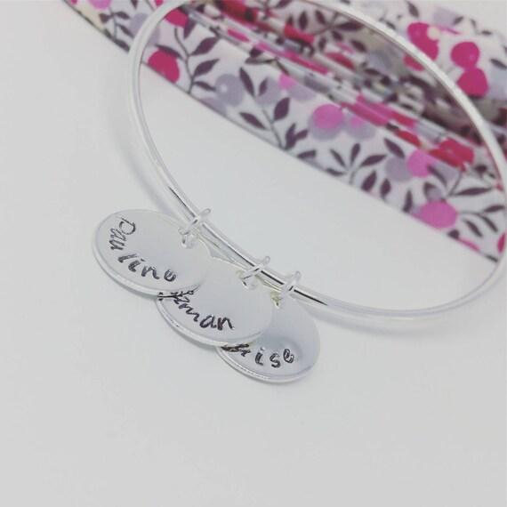 Custom silver Bangle - Silver 925 with 3 prints custom plated Bracelet