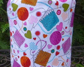 Knitting drawstring bag, WIP bag, knitting project bag, Knitting Love, Suebee
