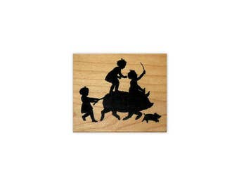 small Children riding Pig Silhouette mounted rubber stamp, kids, summer fun, barnyard, farm antics, Crazy Mountain Stamps #1