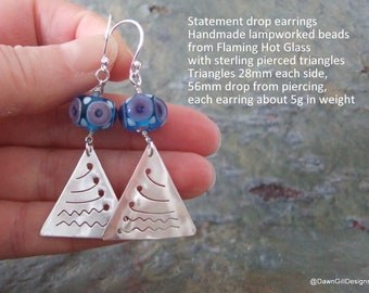 Statement, dangling triangle drop earrings pierced sterling silver with lampworked beads OOAK