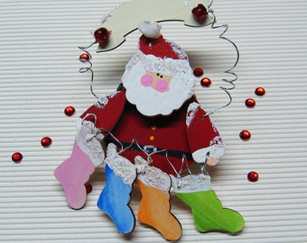 Personalize Holiday Christmas Family Ornament. Custom Family Ornament. Santa Ornament. Christmas Stockings. Gift for her. Gift under 25.