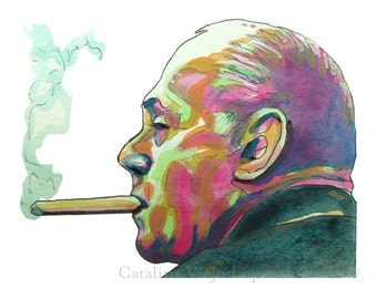 Boston Celtics Red Auerbach Painting Reproduction Print 8.5 x 11