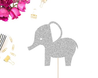 Baby Shower Cake Topper | Elephant Cake Topper | Baby Shower Decor | Baby Shower Party | Baby Boy | Baby Girl | Glittery Elephant Topper
