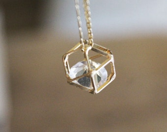 Gold Geometric Necklace, Gold diamond necklace, Whimsical necklace, Floating diamond necklace, Gold crystal necklace, Hollow polygon charm