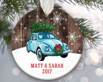Volkswagon bug ornament, VW car with Christmas tree on top, Vintage car ornament, VW Beetle personalized Christmas ornament, Farmhouse OR840
