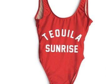 Tequila sunrise- Bathing suit, swim suit, one piece bridesmaid gift mexico honeymoon