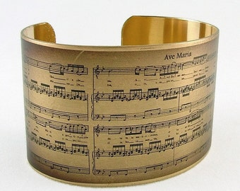 Sheet Music Bracelet - Schubert Ave Maria - Music Cuff Bracelet - Romantic Gift For Wife - Music Gift - Musical Gift For Her