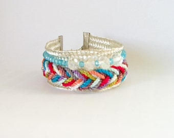 Braid silver son Colores, braided, Bracelet beads.