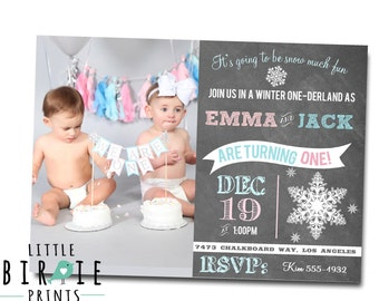 TWINS WINTER ONEDERLAND Invitation Siblings winter onederland invitation Twins first birthday invitation printable file Blue and Pink Snow