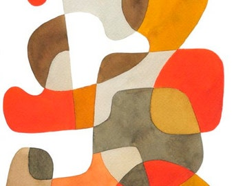 Abstrait Art Print affiche Mid Century Modern «Marche» Home décor orange moutarde jaune marron gris beige 11 x 16