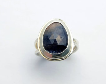 Rose Cut Blue Sapphire Ring Sterling Silver Faceted Gemstone Jewel Statement Ring Double Band Sapphire Jewel Ring September Birthstone OOAK