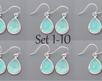 Set of 1-10, Mint, Opal, Glass, Silver, Earrings, Sets, Dangle, Drop, Hook, Earrings, Wedding, Bridesmaid, Bride, Gift, Jewelry