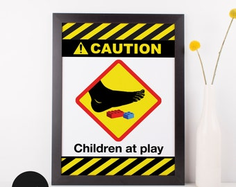 Caution Children at Play, Home Decor, Wall Art, Playroom, Nursery Art, Kids Room Decor, Lego Art, Lego Blocks, Warning Signs, Funny Art