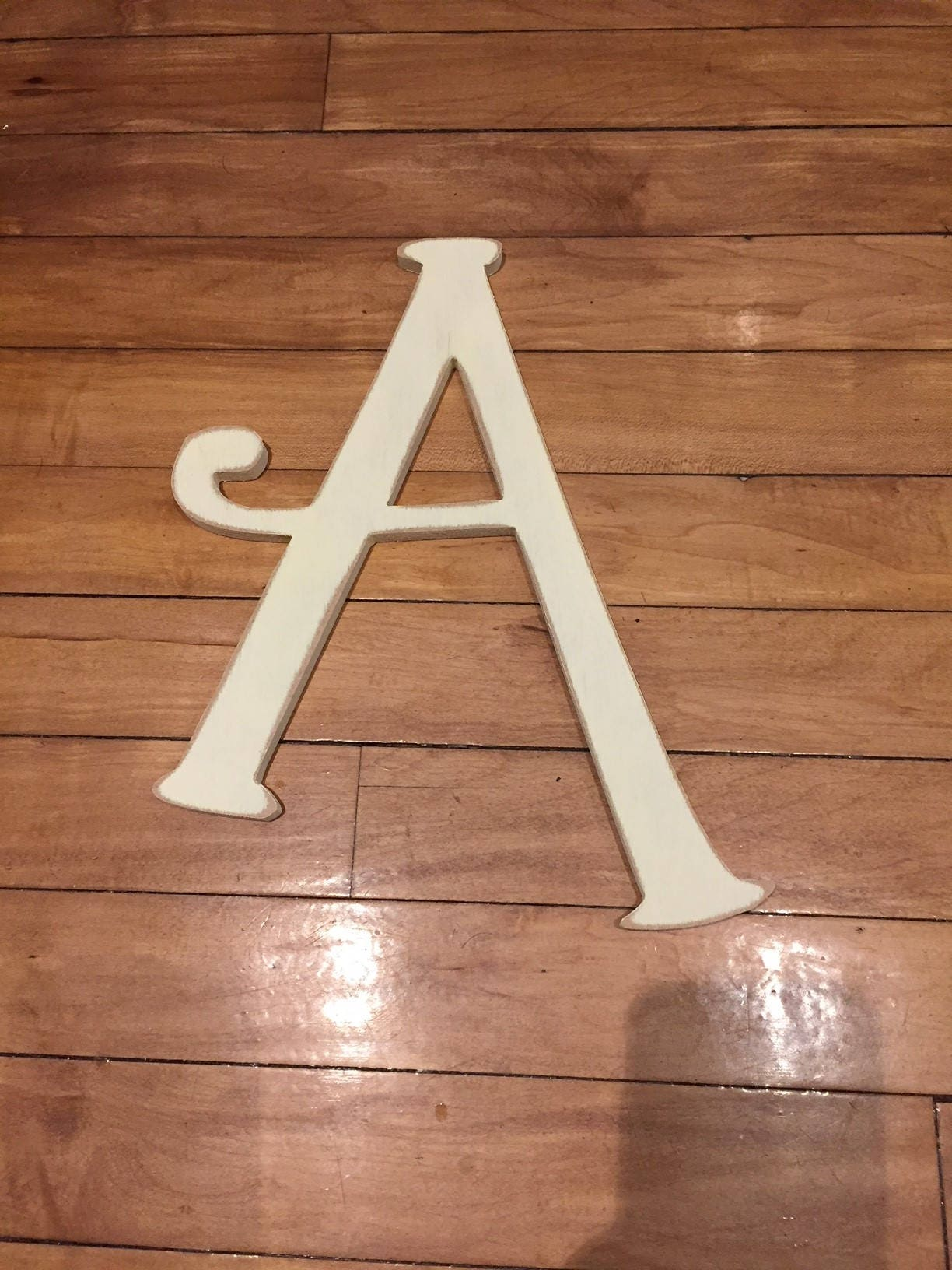 Wooden Wall Letter A Painted Letter Twirly Font Various Sizes