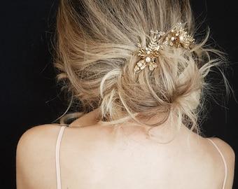 GEMINI | Gold floral wedding hair piece
