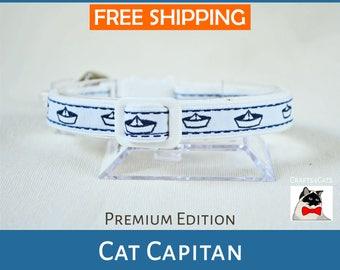 Cat collar breakaway - Cat collar 'Cat Capitan' nautical cat collar - cute cat collar will bell - sailor cat