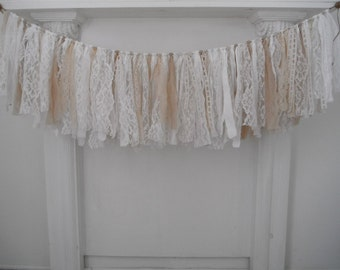 rag garland lace garland wedding decor nursery wall decor shabby cottage chic vintage laces coffee stained aged fabric garland 46 inch
