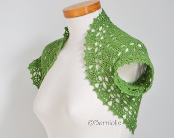 Green silk shrug, lace, crochet, P462