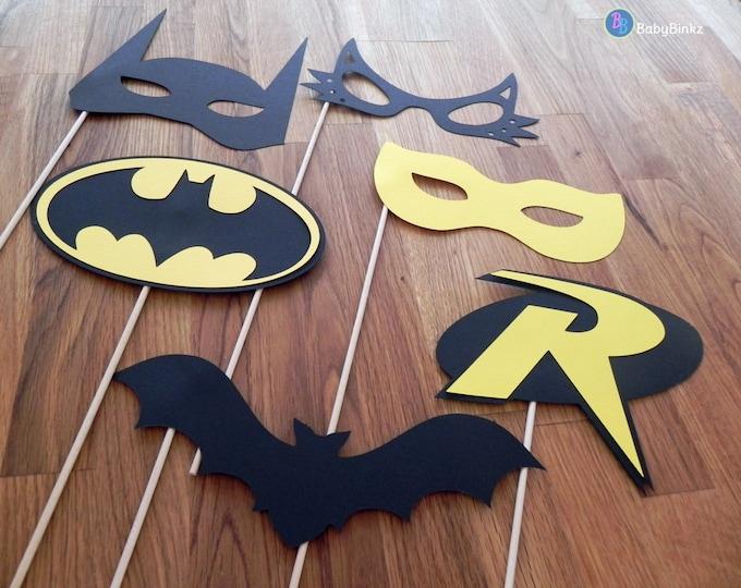 Superhero Photo Props: The Batman Set (6Pieces) - party wedding birthday die cut superhero mask robin cat woman