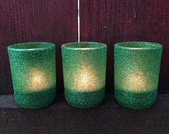 Evergreen Glitter Votive Holders