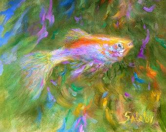 koi fish art green impressionist art koi fish wall art fish painting  bedroom nature goldfish oil painting canvas goldfishes