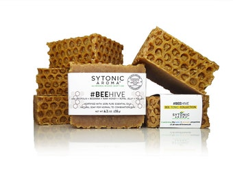 Beehive Soap - PROPOLIS + Beeswax + HONEY + Royal Jelly + Pollen (5.9 to 6.3 oz.), All Natural, Handmade Soap