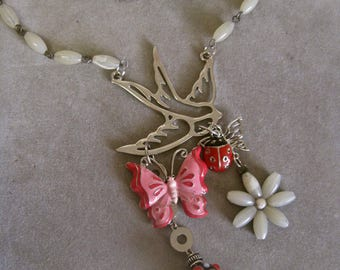 SPRING AHEAD: Sparrow Choker Butterfly Lady Bug Bird Necklace ROCKABILLY Vintage Assemblage Silver Pink Red Shell Flower Glass Beads