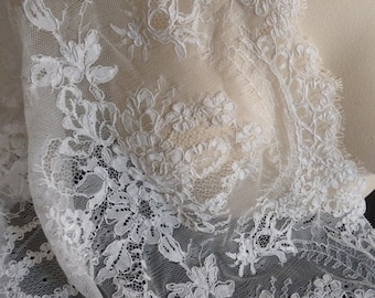 "OFF White Eyelash Lace REMNANT 40"" for Bridal, Gowns, Boleros, Bodices  AL 10"